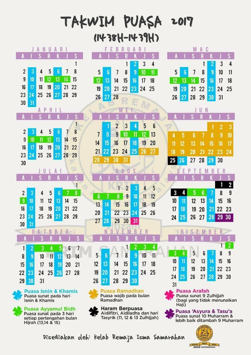 tarikh puasa sunat dan wajib 2017