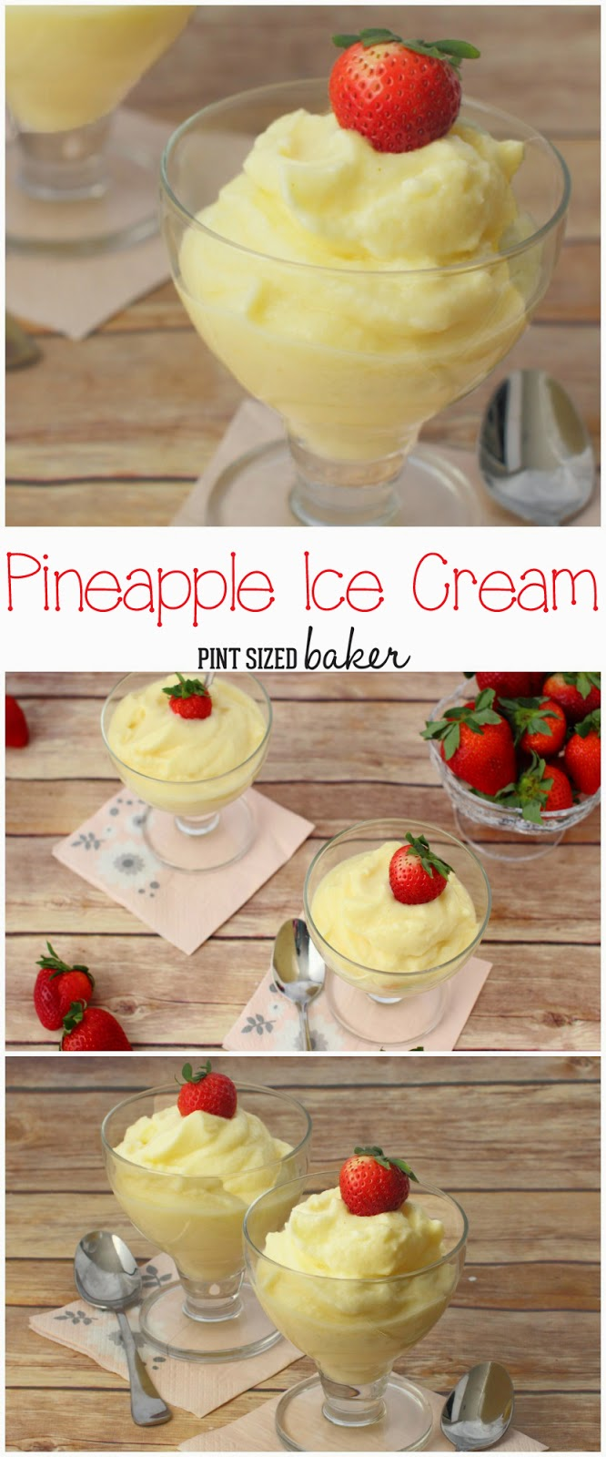 Pineapple Sherbet is smooth and creamy and comes together with two ingredients and five minutes. It's the perfect summer snack!