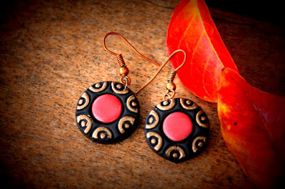 Black color terracotta earring for girls - quillingpaperdesigns