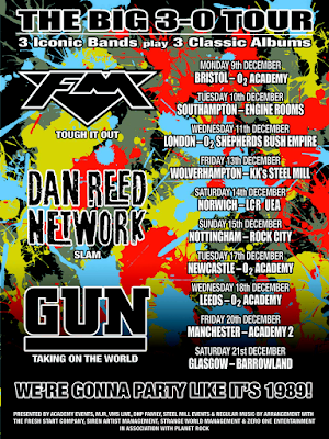 FM + Dan Reed Network + Gun - UK tour December 2019 - poster