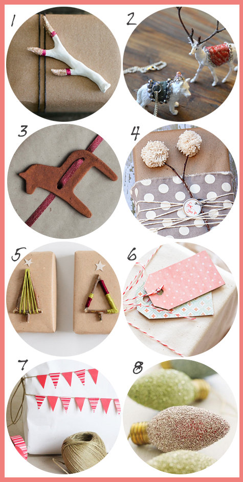 Pretty Package and Gift Toppers, Ribbons and Wrap DIY's - DIY Homemade Christmas Gift Wrap Ideas