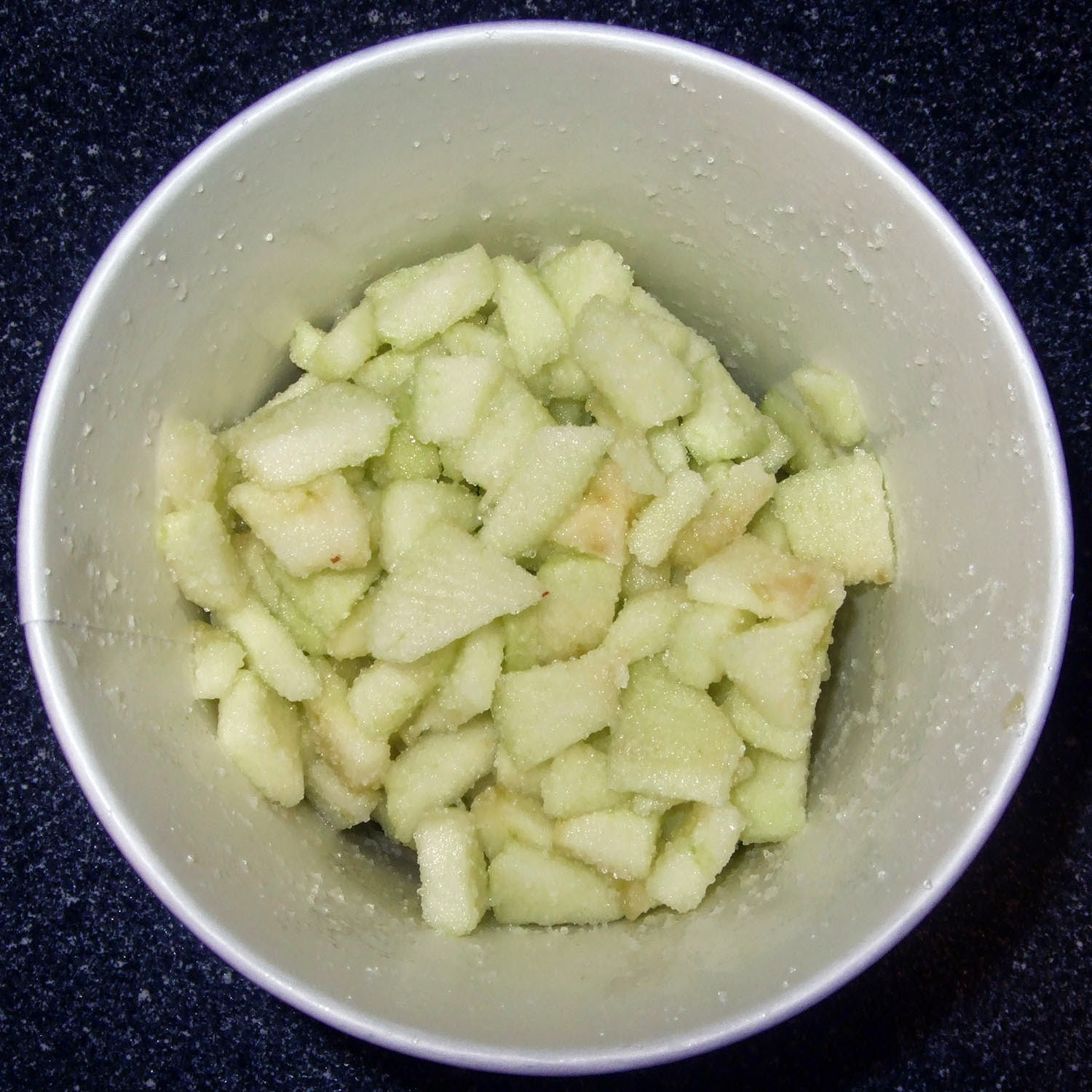 Raw apple pieces.