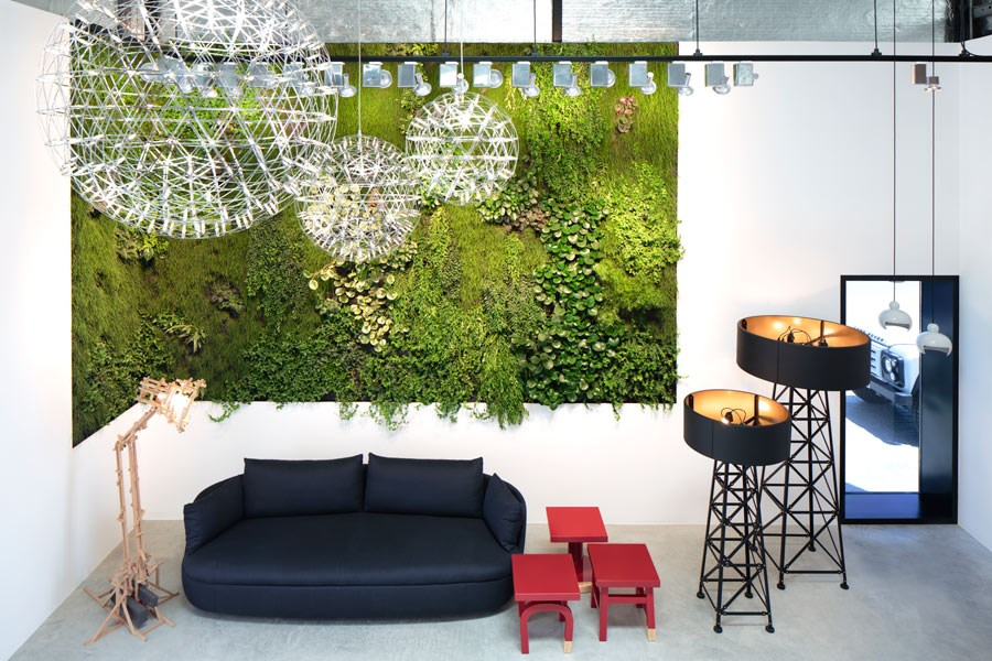 Mounted Vertical Garden Inside An Office In Oslo. This Garden Decorate Small  Space Of The Office, And Beautify A Kitchen Bellow.