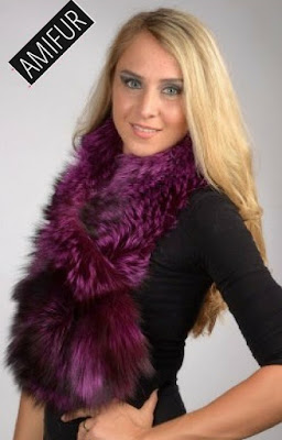 Violet Fox Fur Scarves