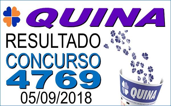 Resultado da Quina concurso 4769 (05/09/2018) ACUMULOU!!! (Imagem: Informe Notícias)