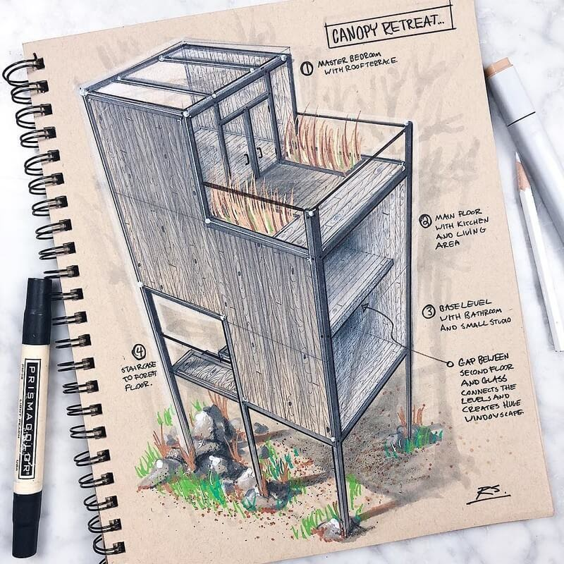 07-Canopy-retreat-Reid-Schlegel-Colored-Architectural-Concept-Drawings-www-designstack-co