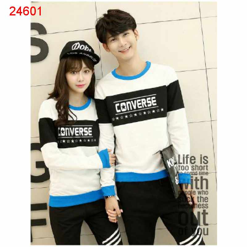 Jual Sweater Couple Sweater Converse Bold White - 24601
