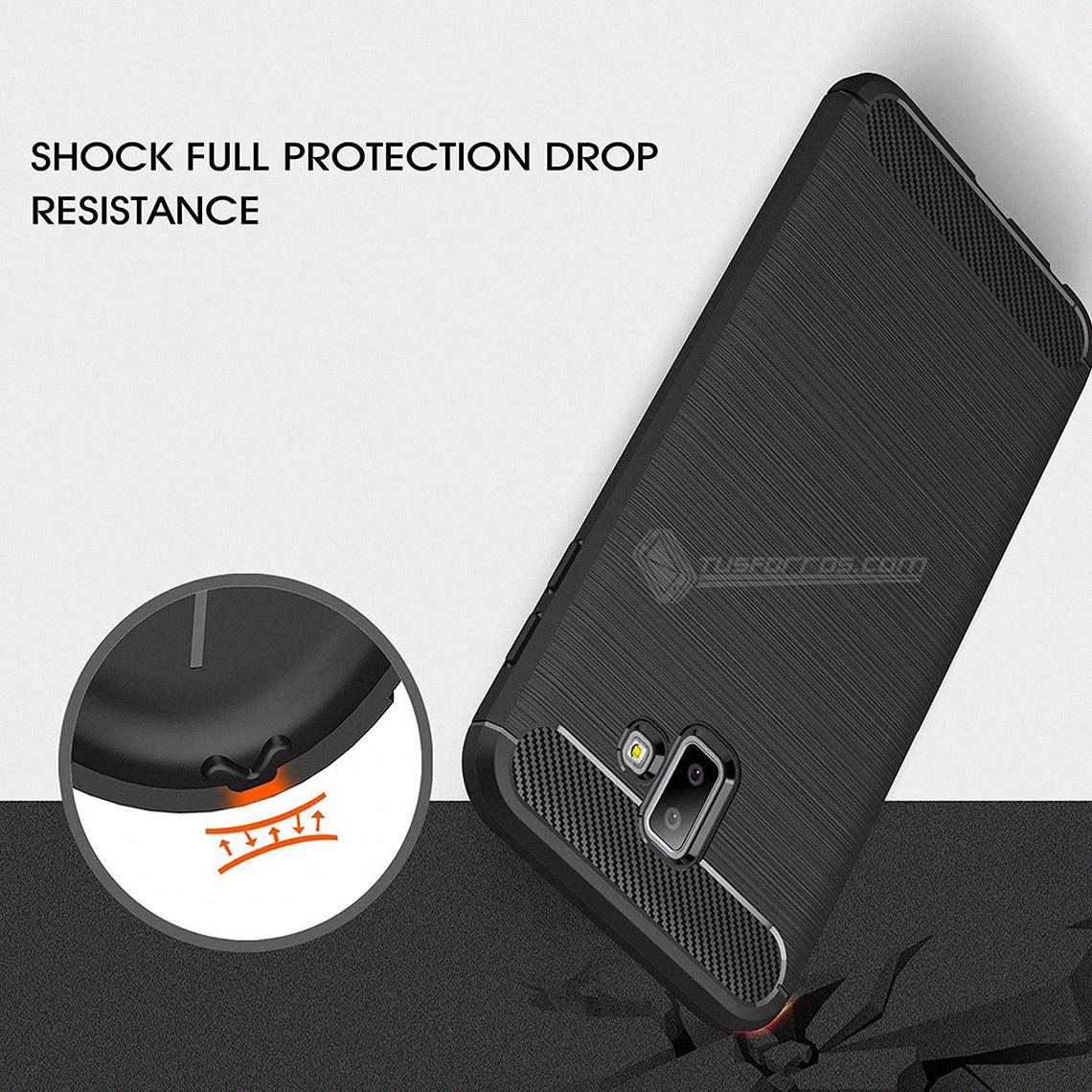 Samsung Galaxy J6 Plus Forro Fibra de Carbono Anti-Shock
