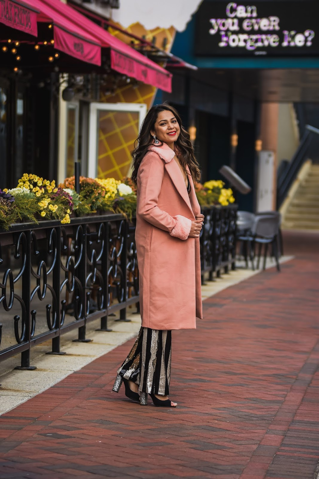 sequin jumpsuit holiday outfit, dress the population sequin jumpsuit, holiday outfit, festive, fur peach coat, red lipstick, fashion, style, Dc blogger, saumya shiohare, myriad musings