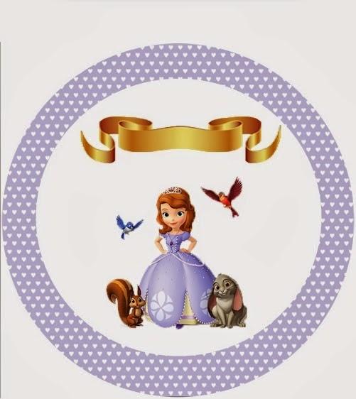 Toppers o etiquetas de Princesa Sofía para imprimir gratis.