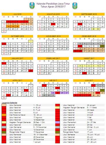 Kalender Pendidikan Jawa Timur 2016 2017 Excel Mading Sdit Arj