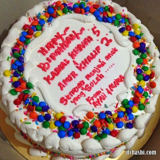 kek pelangi untuk sambutan harijadi anak-anak