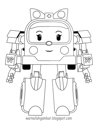 Mewarnai Robo Car Poli Amber Mewarnai Gambar