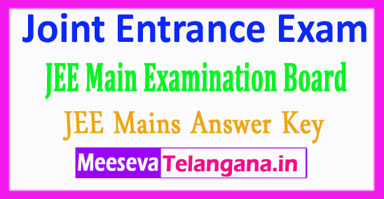 Joint Entrance Examination JEE Main Answer Key 2018 Download