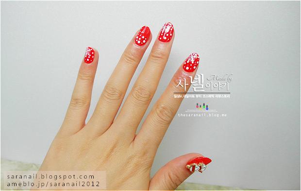 sara nail bright red polish
