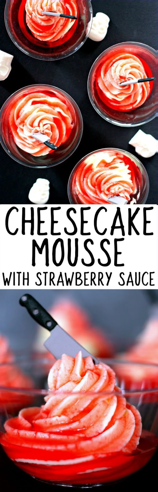HOW TO MAKE TWO INGREDIENT CHEESECAKE MOUSSE WITH STRAWBERRY SAUCE