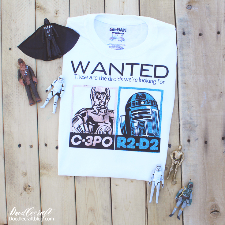 Star Wars C3PO R2D2 Droids Wanted Iron On T-Shirt with Cricut!