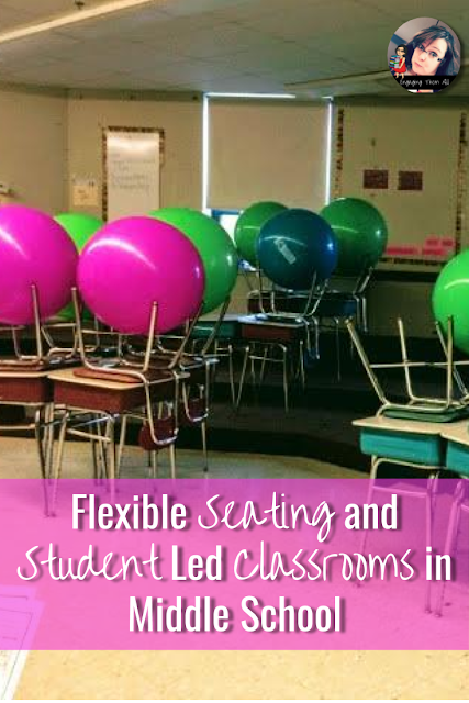 Take a risk and try flexible seating and student led activities in your middle school classroom. #middleschool #flexibleseating #learnlap #yogaballs