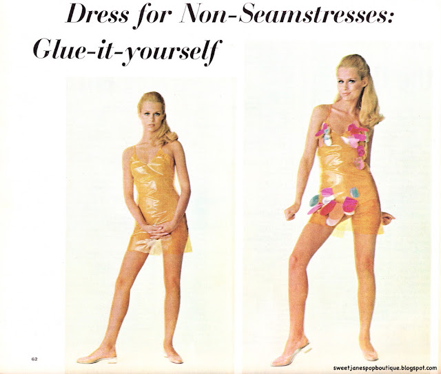LAUREN HUTTON MODEL IN BETSEY JOHNSON PLASTIC 1960S DRESS DESIGN 1966