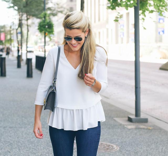 white ruffle hem blouse