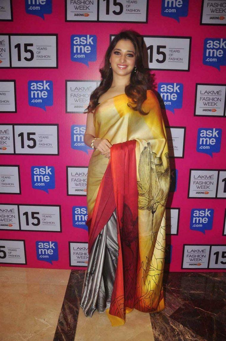 Tamanna Stills In Yellow Saree At Lakme Fashion Week