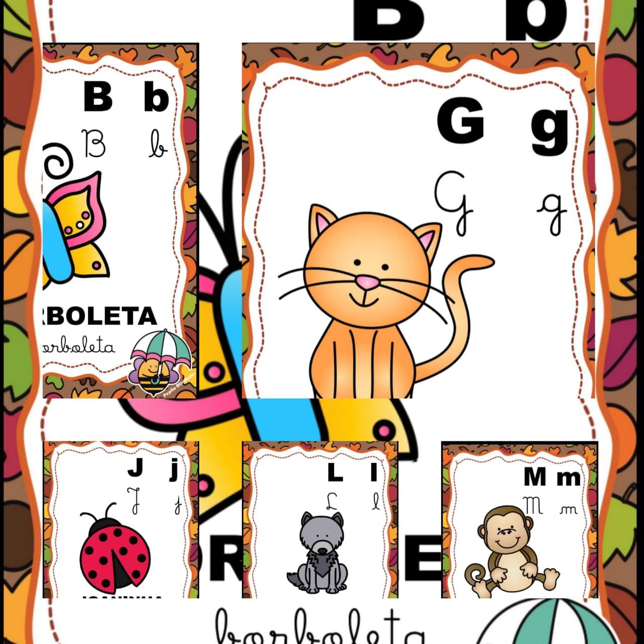 Alfabeto Ilustrado 4 Tipos De Letras No Tema Abelhinha