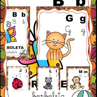 Alfabeto de parede Animais de Jardim - Tema abelhinhas 4 tipos de letra