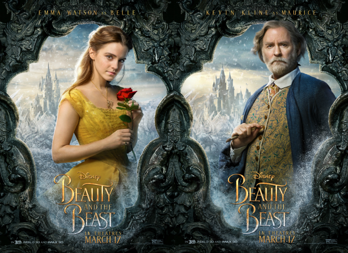 "Emma Watson and Kevin Kline in ""Beauty and the Beast"""
