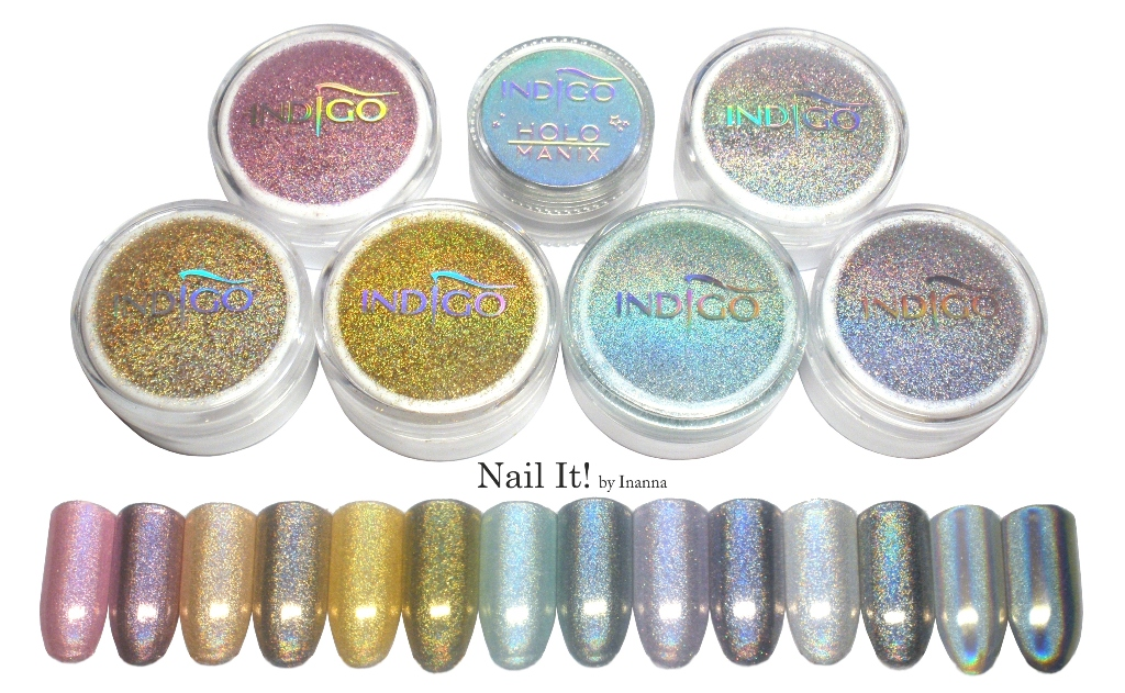 Compendium Holo Effect & Holo Manix by Indigo - swatches of all 7 powders, comparisons, review and how to use them (HOLO MANIX, CLASSIC, TIFFANY, SILVER, GRAPEFRUIT GOLD, GOLD FUCHSIA)