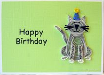small kitten happy birthday greeting cards for kids - quillingpaperdesigns