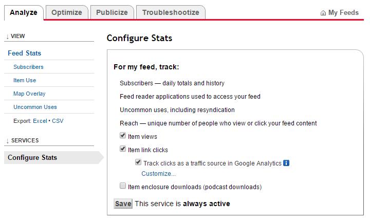 feedburner  Services > Configure Stats