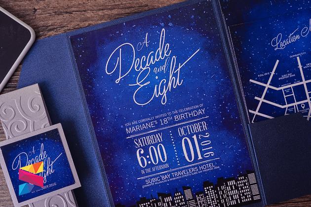 starry night themed debut invitation