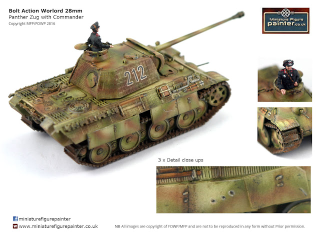 Bolt Action Warlord 28mm Panther Zug with Commander Painted By Flames of War Painting/ MFP