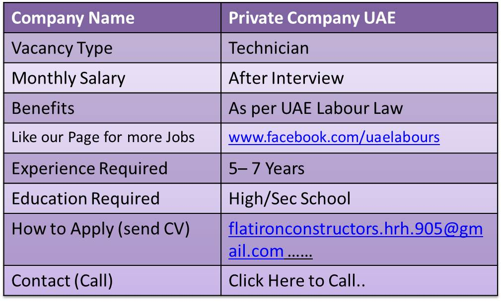 electrician jobs in dubai 2018