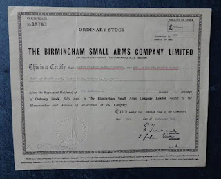 share certificate of the Birmingham Small Arms Company