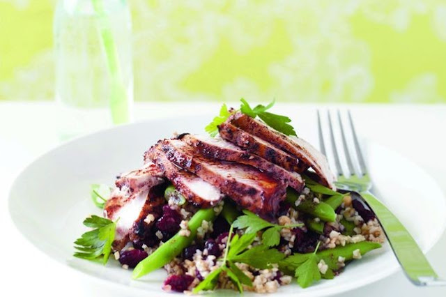 Tender chicken and chewy cracked wheat steal the show in this refreshing salad Sumac chicken, & burghul salad recipe