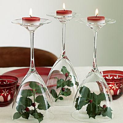 como aproveitar taças como suporte de velas