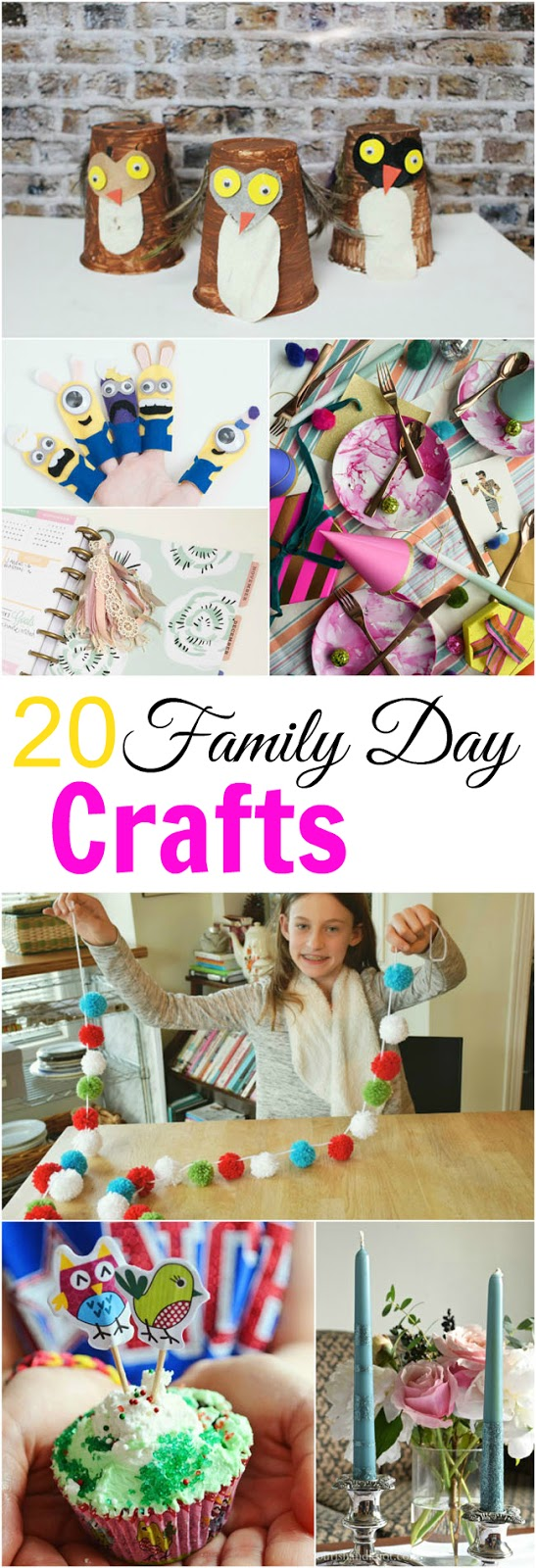 Here are 20 ideas for crafts and activities to do with your kids on Family Day or any day you want to spend time bonding together indoors.