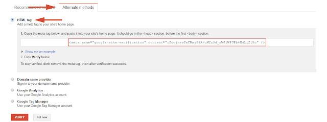 Cara Terbaru Daftar dan Verifikasi Blog Ke Webmaster Tools