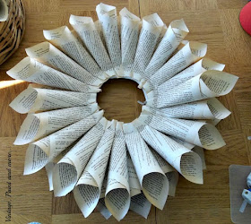 Vintage, Paint and more...Second row of cones for a book page wreath completed