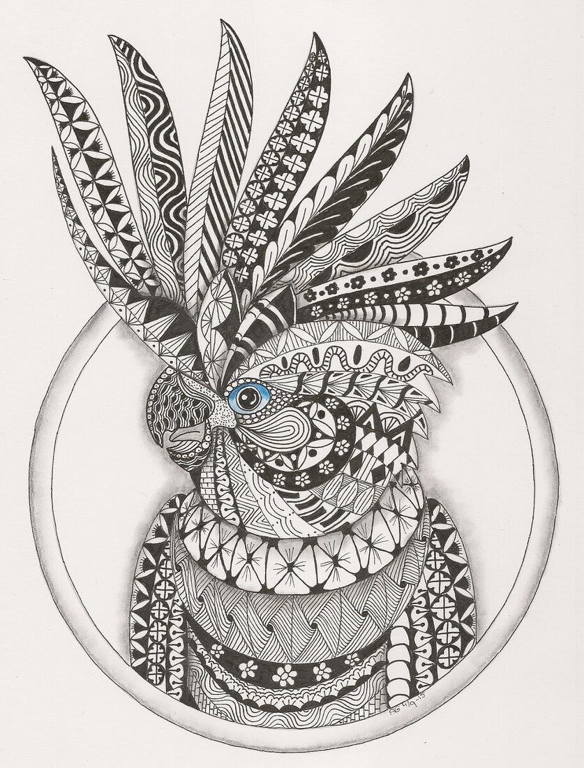 09-Cockatoo-Adri-van-Garderen-Animals-Given-the-Zentangle-Treatment-www-designstack-co