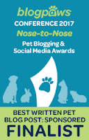 2017 BlogPaws Nose-to-Nose Award Finalist badge