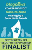 2017 BlogPaws Nose-to-Nose Award Finalist badge