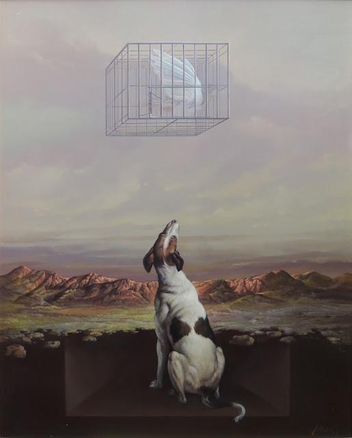 José Marí pintura surrealista arte animales perro pájaro