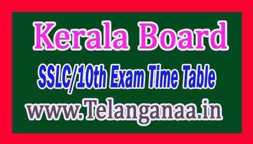 Kerala Board SSLC/10th Exam Time Table