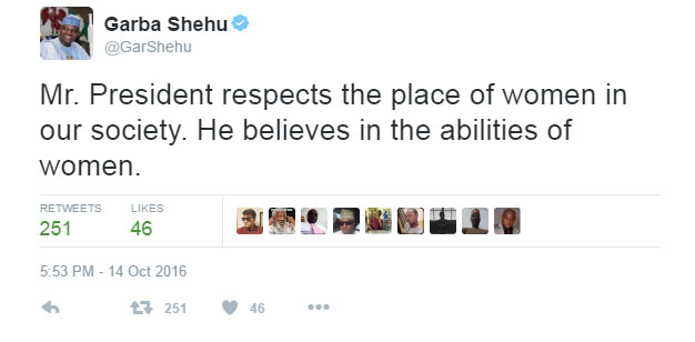 "Buhari was joking when he said ""Aisha belongs to the kitchen"" - Presidency"