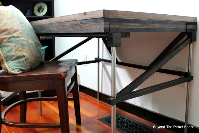 industrial, desk, drafting table, metal pipes, reclaimed wood, http://goo.gl/mtjRjv