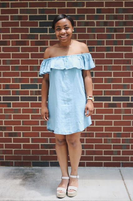 Miss Lauren Alston wearing a chambray off the shoulder dress