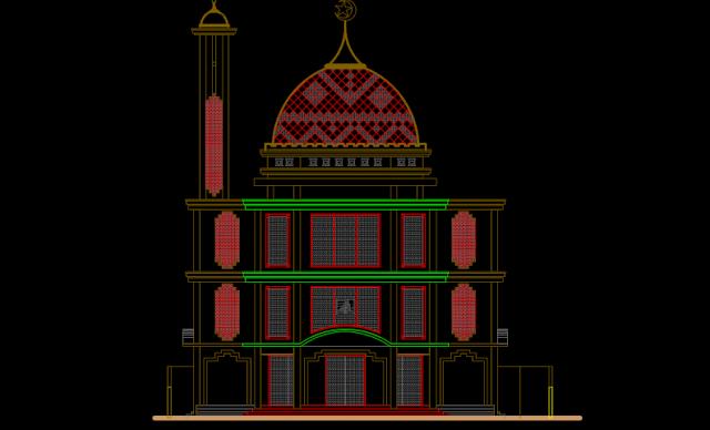 Autocad Masjid Modern