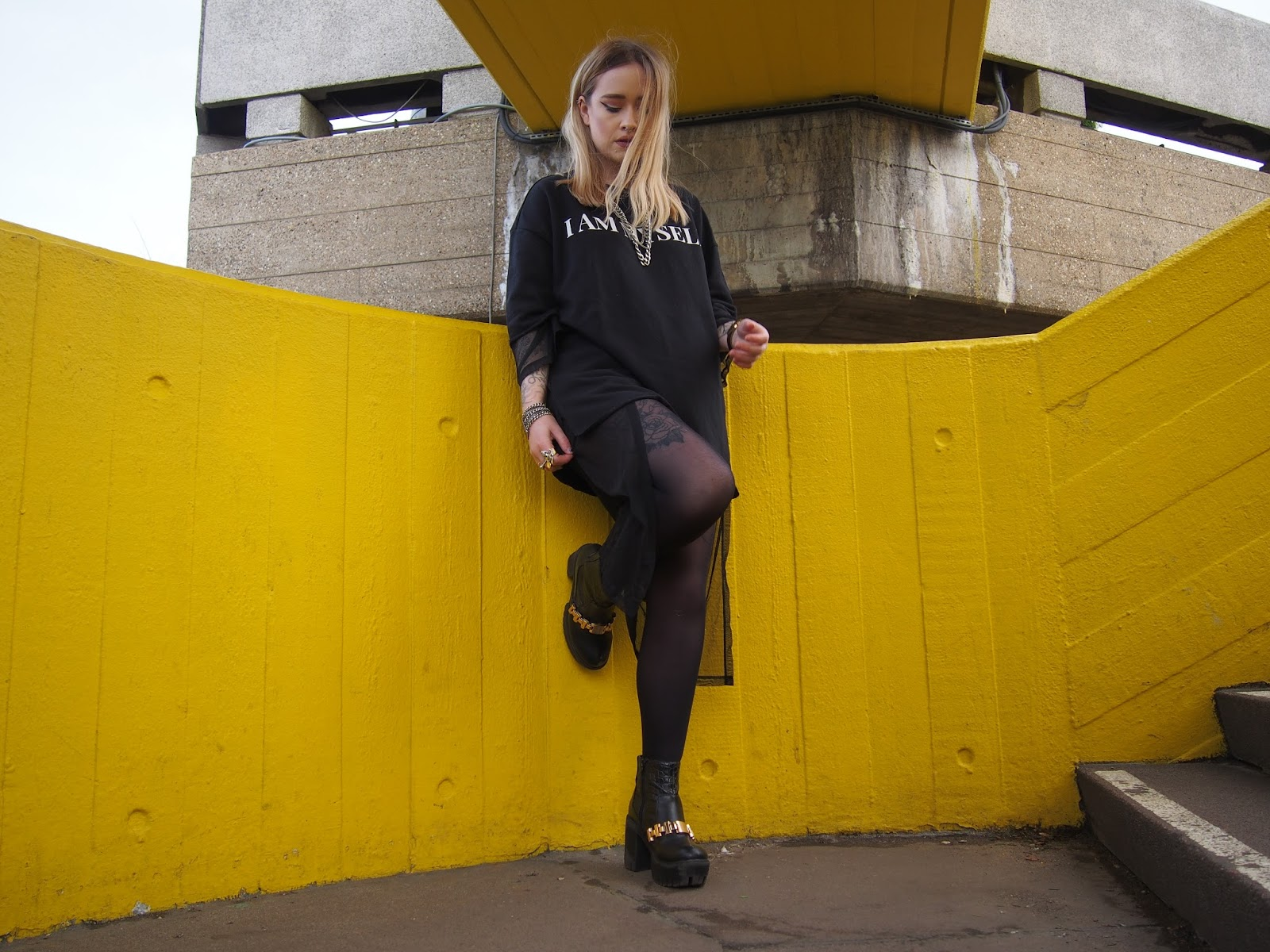 Fashion blogger Lucy Love styles up Zara oversized sweater dress